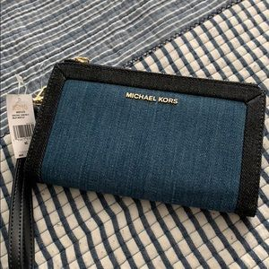 Michael Kors double zip wristlet in denim/ multi